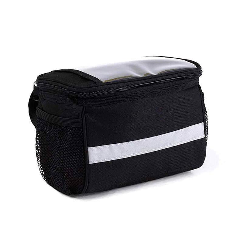 TRADERPLUS Bicycle Basket Handlebar Bag with Sliver Grey Reflective Stripe